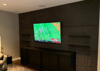 TV Wall Black Suede and Speaker Cloth-